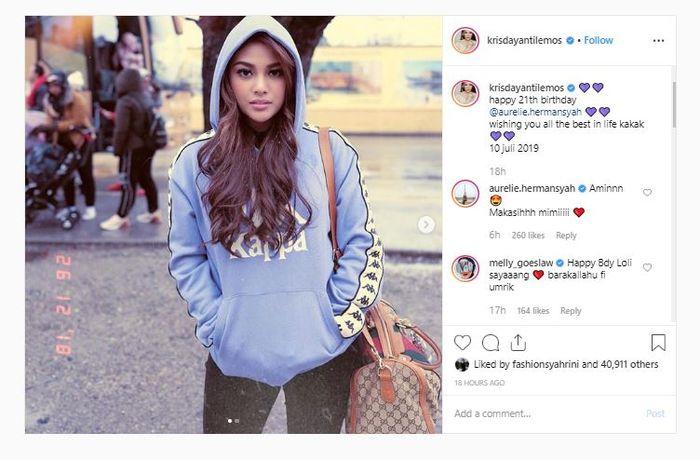 Unggahan foto Instagram KD yang memperlihatkan Aurel yang beranjak dewasa