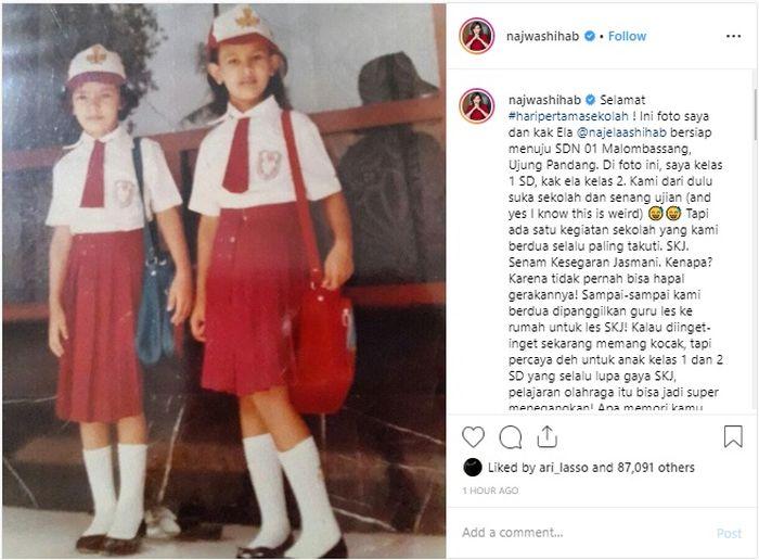 Postingan foto masa kecil Najwa Shihab  untuk peringati hari pertama sekolah.