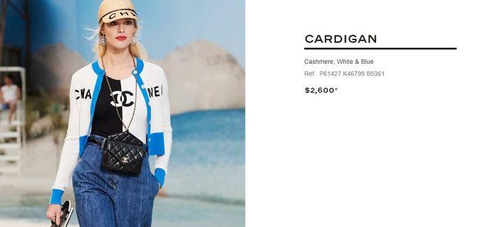 Harga Cashmere White and Blue Cardigan dari Chanel yang dipakai Syahrini saat nonton film di bioskop