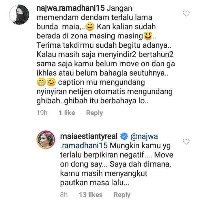 Balasan menohok Maia Estianty saat dituding pendendam dan suka menyindir oleh seorang netizen.