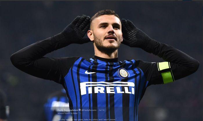 Mauro Icardi saat merayakan golnya untuk Inter Milan.