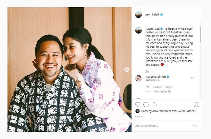 Unggahan Instagram Naysilla Mirdad