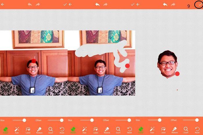 Proses menghapus latar belakang foto dengan aplikasi Background Eraser.