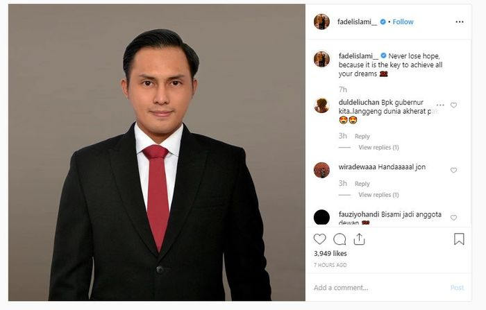 Unggahan Instagram Fadel Islami