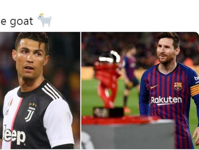 Megabintang Juventus, Cristiano Ronaldo (kiri), dan megabintang Barcelona, Lionel Messi.