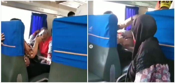Viral Video Ibu-ibu Ngamuk dan Teriak Histeris di Dalam Kereta Saat Petugas Periksa Tiketnya