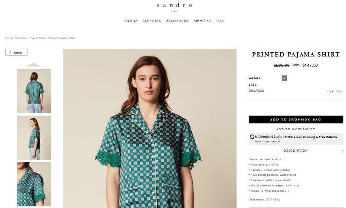 Sandro Printed Pajama Shirt