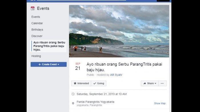 Postingan di facebook yang ajak serbu Nyi Roro Kidul pakai baju hijau.