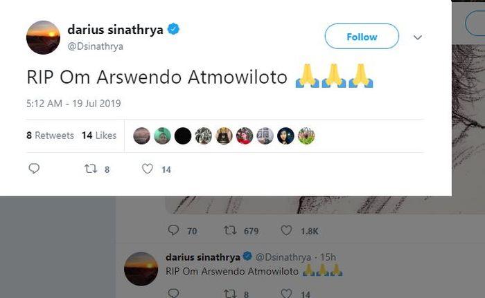 Darius sampaikan duka atas kepergian Arswendo Atmowiloto di Twitter