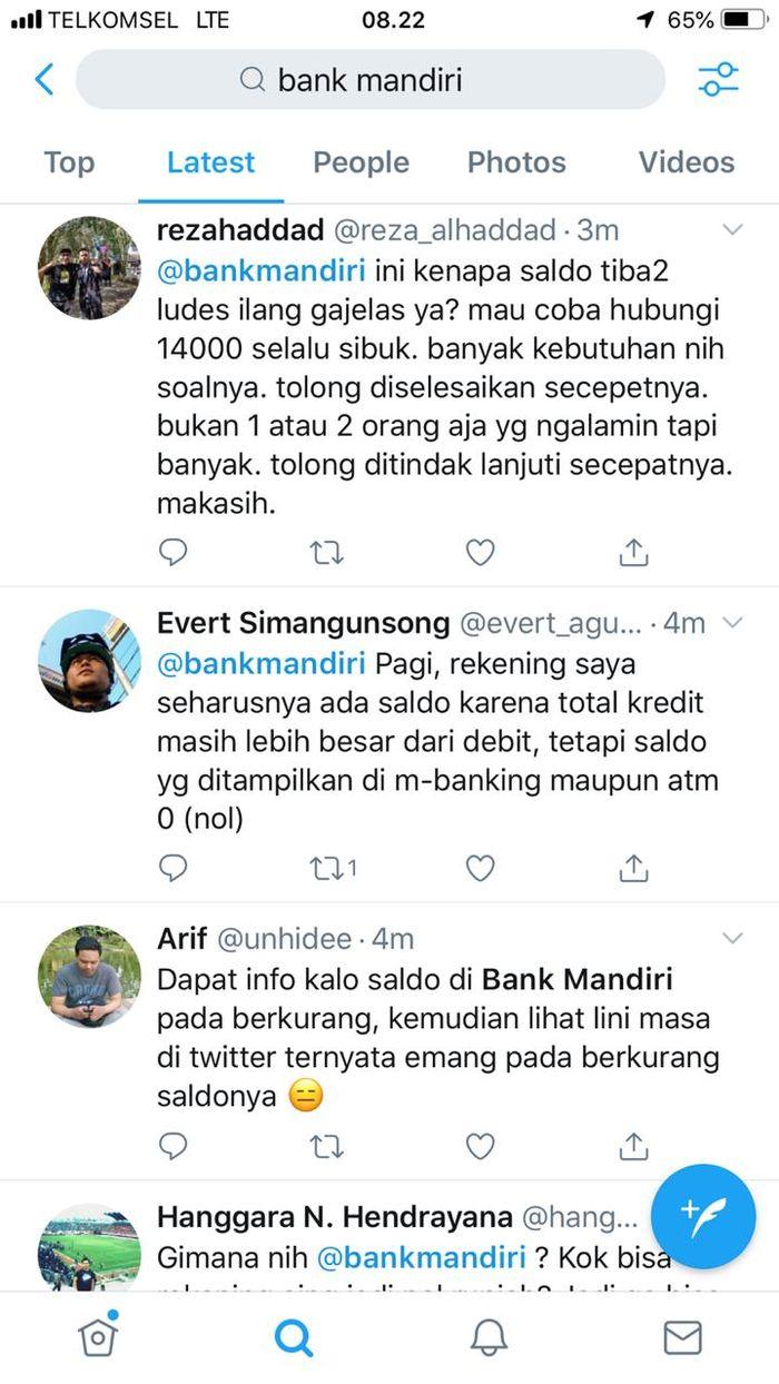 Keluhan saldo rekening Bank Mandiri berkurang bahkan menjadi nol.