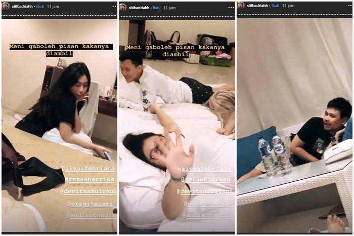 Suasana malam pertama Siti Badriah dan Krisjiana yang ramai dengan sanak saudara