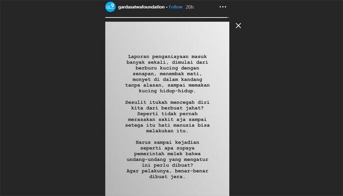 Kecaman Garda Satwa Indonesia untuk pelaku pemakan kucing melalui Instagram.
