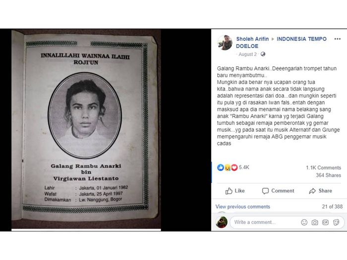 Unggahan tentang Galang Rambu Anarki, putra Iwan Fals, yang ramai diperbincangkan di grup Facebook Indonesia Tempo Doeloe.