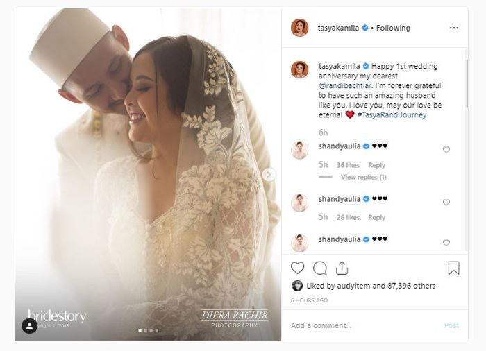 Unggahan Instagram Tasya Kamila