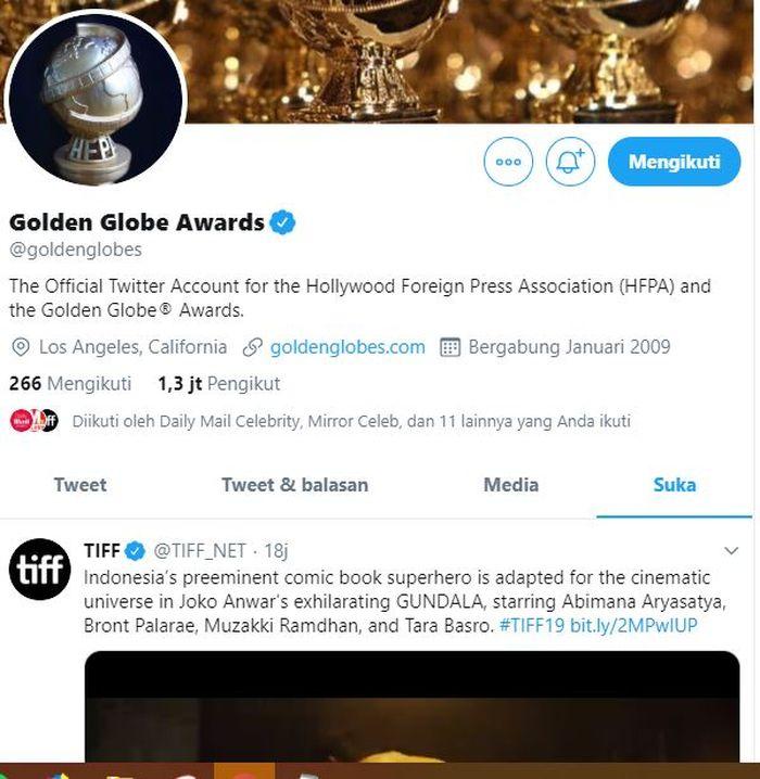 Akun resmi Twitter Golden Globes Awards menyukai postingan mengenai Gundala
