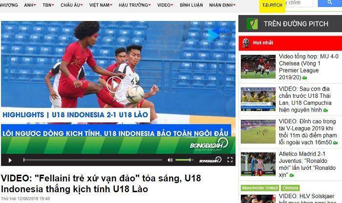 Pemberitaan media Vietnam, Bongda24h.vn yang menyebut Amiruddin Bagus Kahfi sebagai Marouane Fellaini.