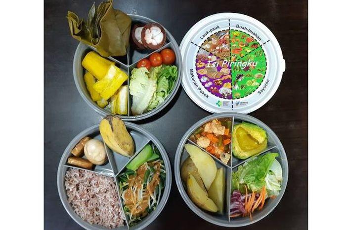 Ilustrasi makanan sehat sesuai Isi Piringku.