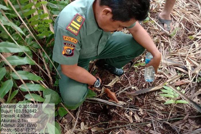 Petugaa Balai Besar Konservasi Sumber Daya Alam (BBKSDA) Riau melakukan identifikasi terhadap temuan jejak satwa dilindungi di Kabupaten Indragiri Hilir