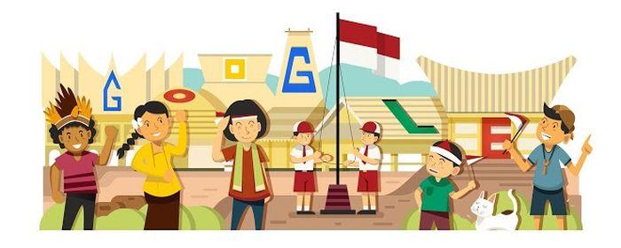 Google Doodle Edisi Spesial HUT RI tahun 2014. (Google)