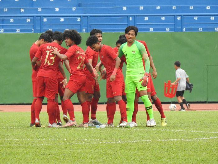 Skuat timnas U-18 Indonesia menjelang laga kontra timnas U-18 Malaysia, Haiqal Adam, di Stadion Go Dau, Vietnam, Sabtu (17/8/2019).