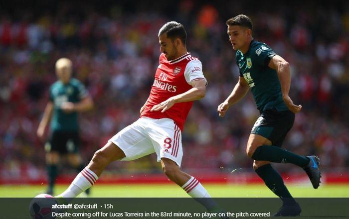 Salah satu aksi dari pemain baru Arsenal, Dani Ceballos, pada pertandingan melawan Burnley di Stadion Emirates, Sabtu (17/8/2019).