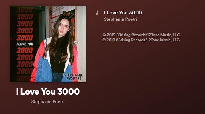 Lagu I Love You 3000 sudah dibubuhi keterangan berada di bawah label 88rising
