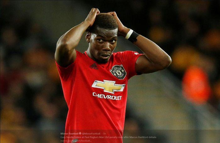 Ekspresi Paul Pogba setelah gagal mencetak gol penalti untuk Manchester United.