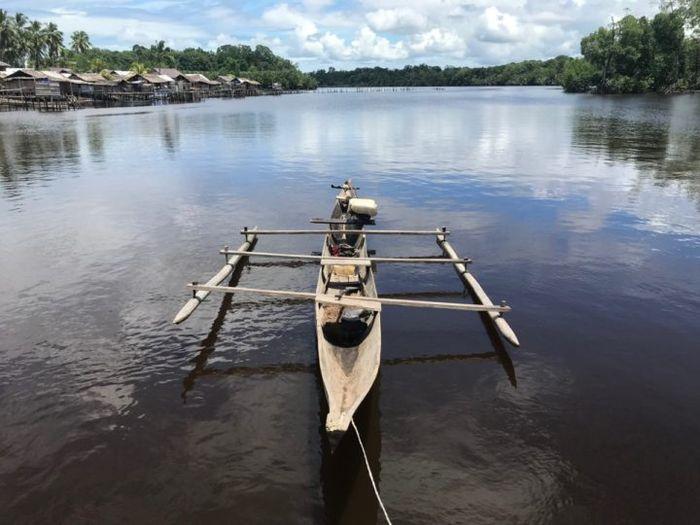Suasana Kampung Saga, Distrik Metemani, Kabupaten Sorong Selatan, Papua Barat, Selasa (4/9/2018). Untuk mencapai kampung ini butuh waktu sekitar 5 jam dengan kapal cepat.