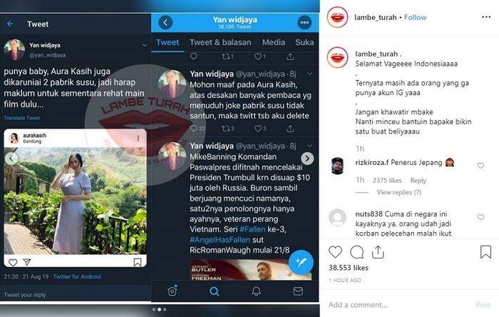 Tangkapan layar utas Yan Widjaya yang membuat Aura Kasih Murka.