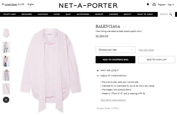 Balenciaga New Swing Oversized Sriped Cotton-Poplin Shirt
