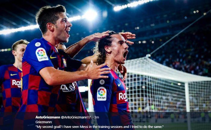 Para pemain Barcelona turut merayakan gol kedua yang dicetak oleh Antoine Griezmann kala menjebol gawang Real Betis di Stadion Camp Nou pada pertandingan pekan kedua LIga Spanyol 2019-2020, Minggu (25/8/2019).