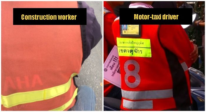 Perbandingan rompi pekerja bangunan dan tukang ojek di Thailand