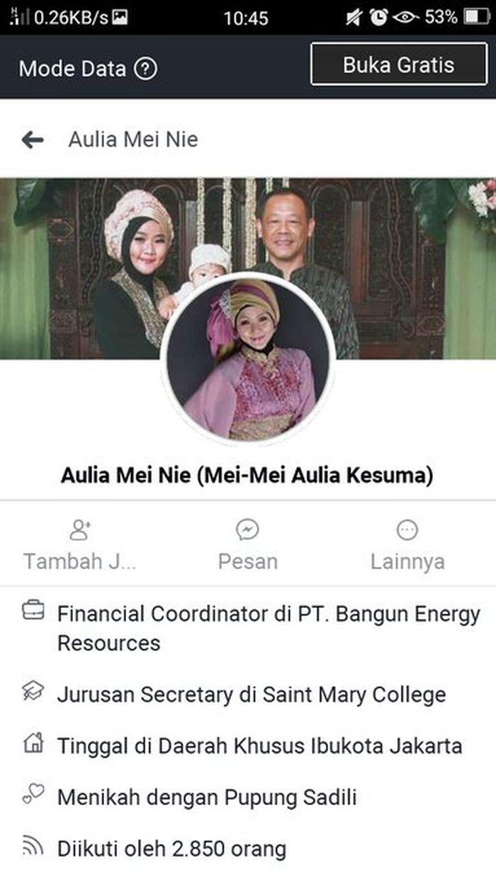 Facebook Aulia Kesuma