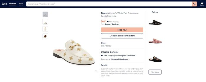 Gucci seri White Flat Princetown Bee and Star Mule