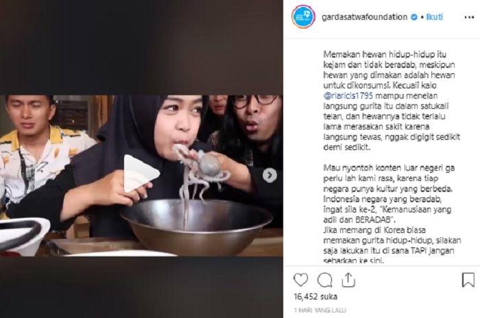 Kritikan Garda Satwa Indonesia terhadap konten video Ria Ricis.