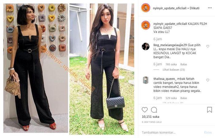 Vanessa Angel dan Lucinta Luna mengenakan pakaian yang sama