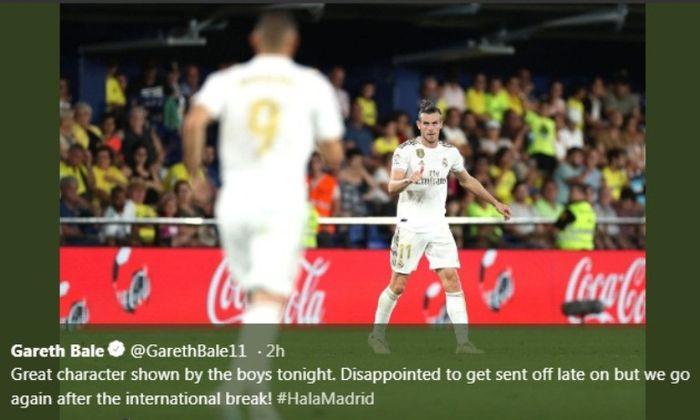 Winger Real Madrid, Gareth Bale, melakukan selebrasi seusai jebol gawang Villarreal pada Minggu (1/9/2019).