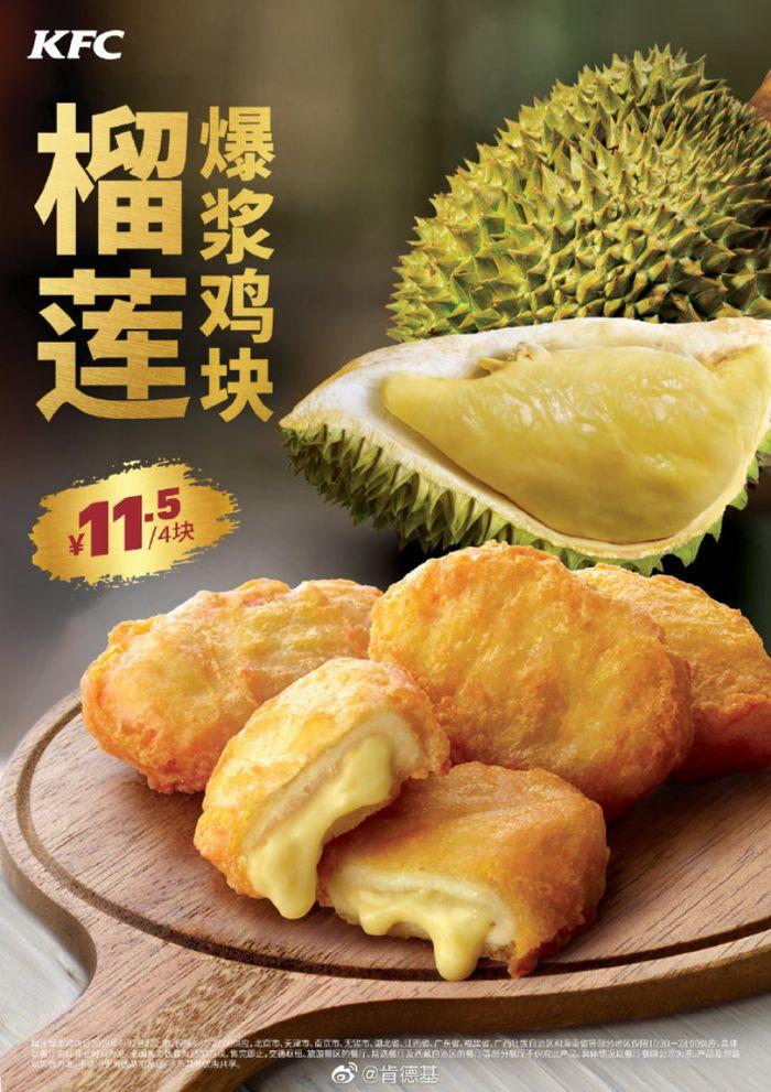 Menu nugget ayam isi durian di KFC China