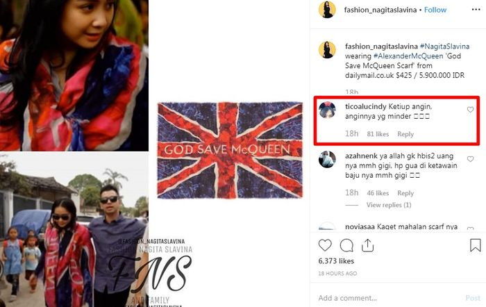 Komentar lucu netizen yang menanggapi harga scarf yang dipakai Nagita Slavina