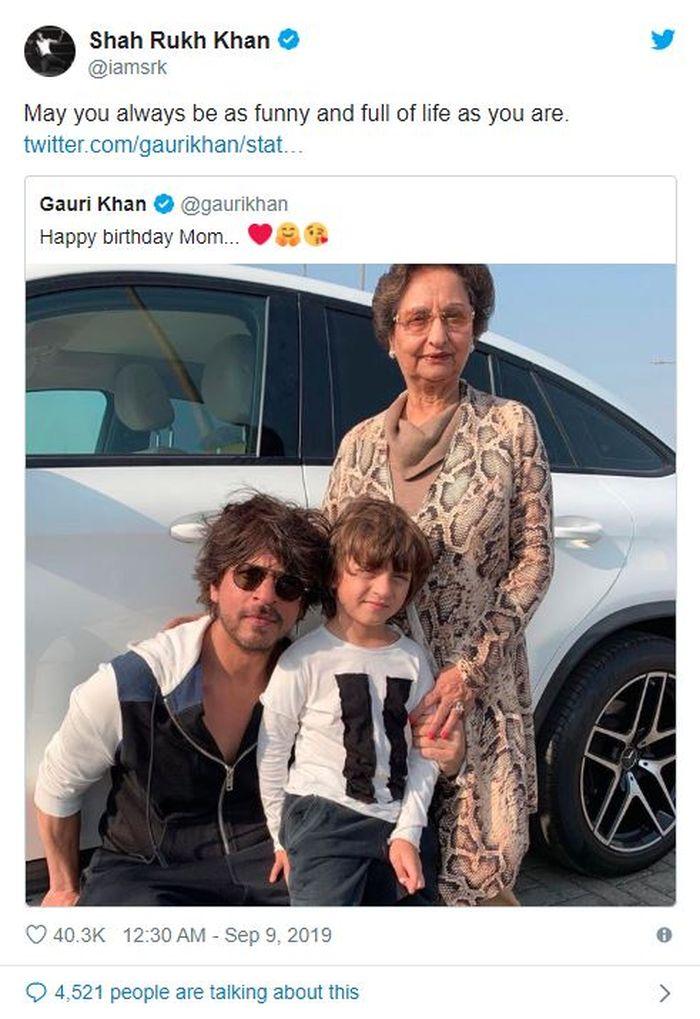 Shah Rukh Khan bagikan potret ibunya, Savita Chibber di twitter.