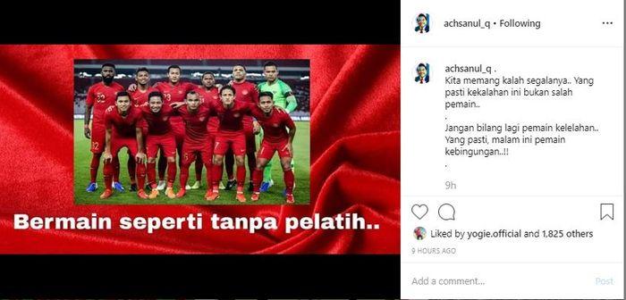Unggahan presiden Madura United, Achsanul Qosasi, yang mengkritik permainan Indonesia setelah kalah dari Thailand pada Kualifikasi Piala Dunia 2022.