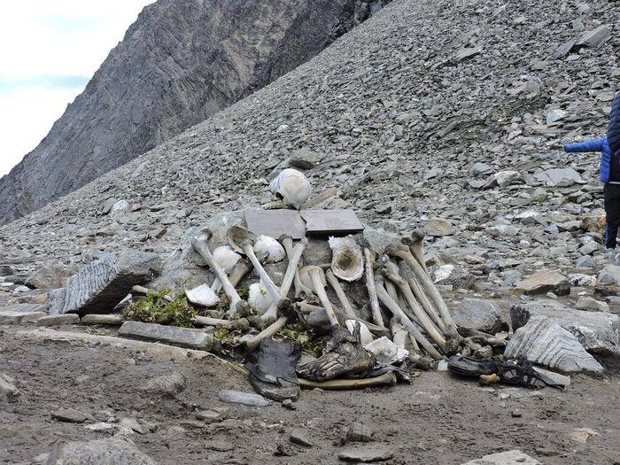 Kerangka manusia di sekitar danau Roopkund.