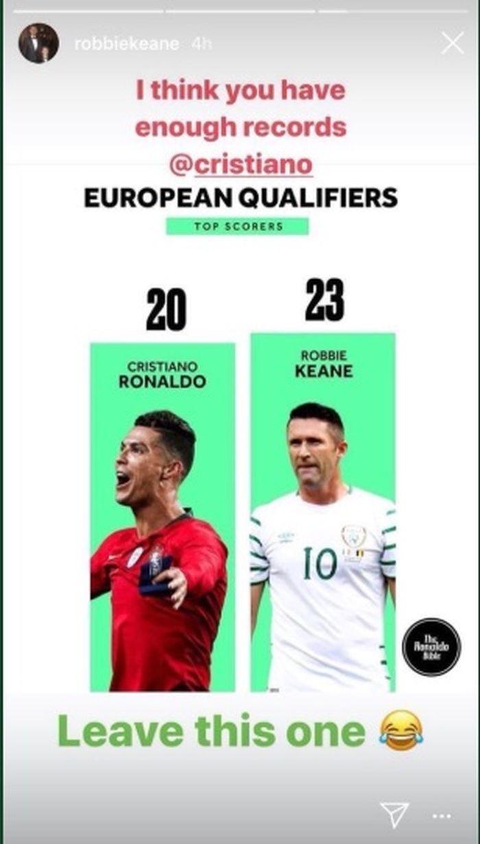 Unggahan Robbie Keane di Instagram Storiesnya perihal jumlah gol dirinya dengan Cristiano Ronaldo.