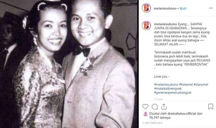 Melanie Subono mengaku ikhlas melepas sang kakek
