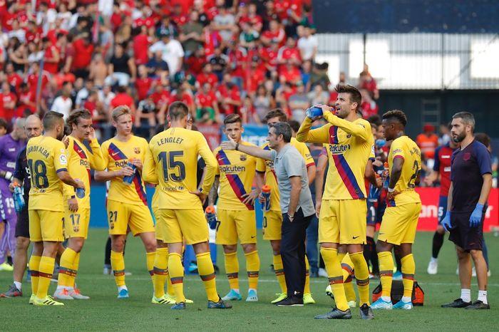 Skuat Barcelona mendapat arahan dari Ernesto Valverde di laga pekan ketiga Liga Spanyol melawan Osasuna, Sabtu (31/8/2019).