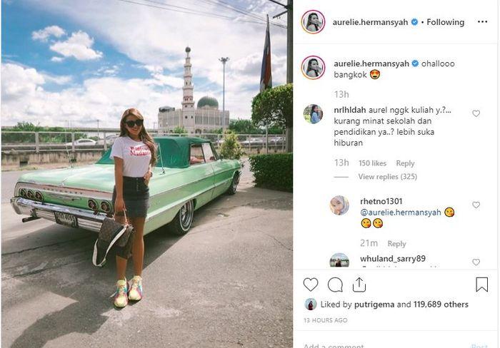 Penampilan Aurel Hermansyah saat liburan ke Bangkok