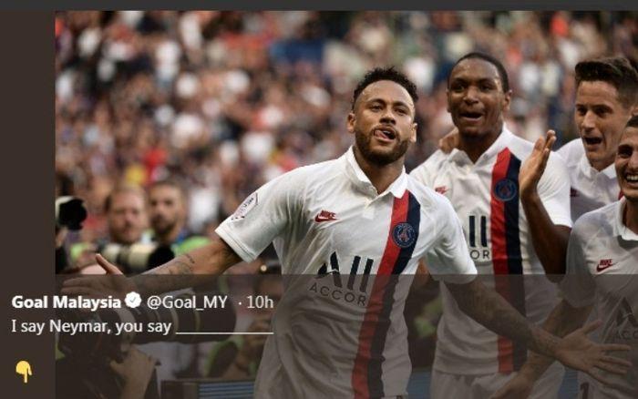 Neymar jadi penentu kemenangan 1-0 PSG atas Strasbourg, Sabtu (14/9/2019).
