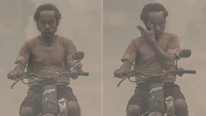 Walau polusi udara yang menyelubungi Palangkaraya mencapai puluhan kali lipat dari batas normal, sebagian warga tampak tidak memakai masker dan merokok sembari mengendarai motor.