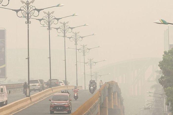 Kabut asap di Pekanbaru, Riau, Kamis (12/9/2019).