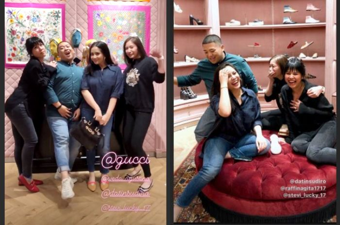 Nagita Slavina saat nongkrong bareng teman-temannya memakai fashion item branded